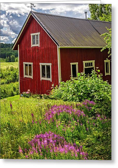 Red Barn On A Summer Day Greeting Card