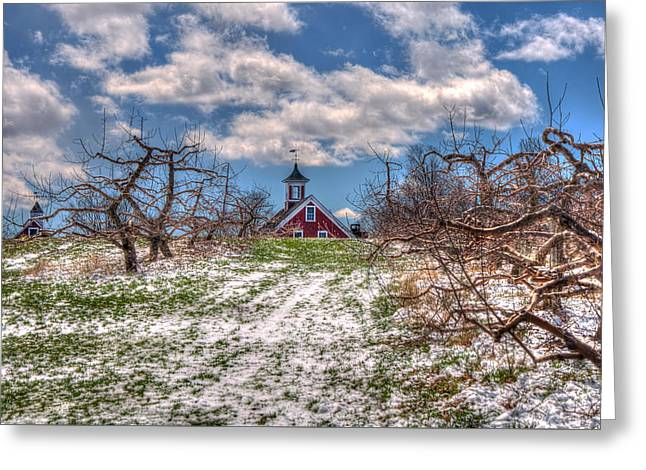 Red Barn On Farm In Winter Greeting Card
