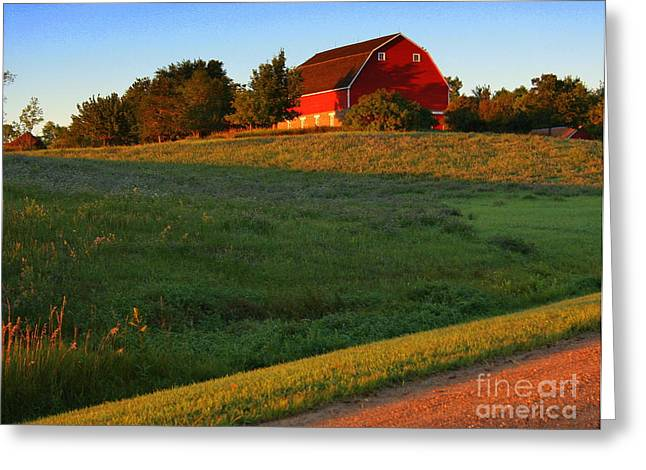 Red Barn On The Hill Greeting Card by Julie Lueders
