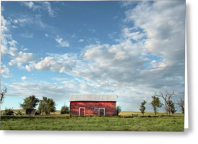 Red Barn On The Prairie Greeting Card