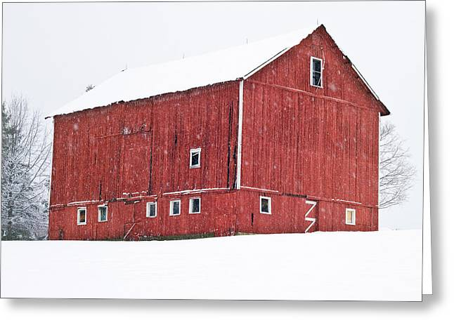 Red Barn Snow Storm  Greeting Card by Tim Fitzwater