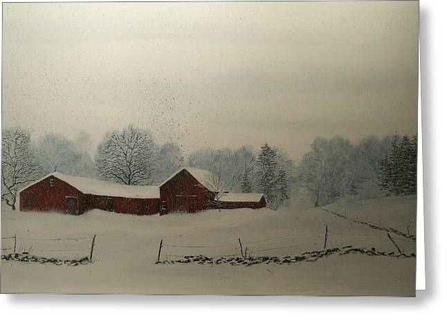 Greeting Card featuring the painting Red Barn Storm by Ken Ahlering