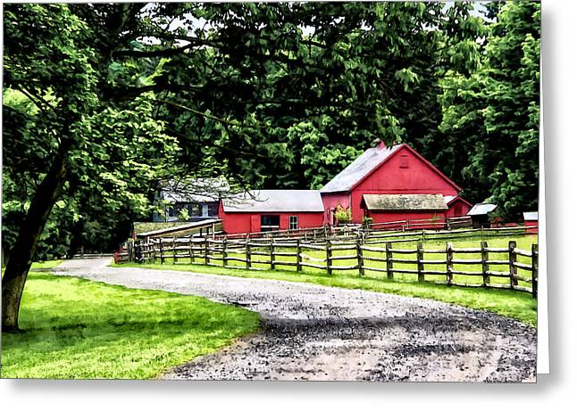 Red Barn Greeting Card by Susan Savad
