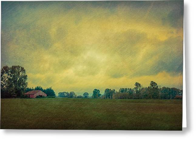 Red Barn Under Stormy Skies Greeting Card