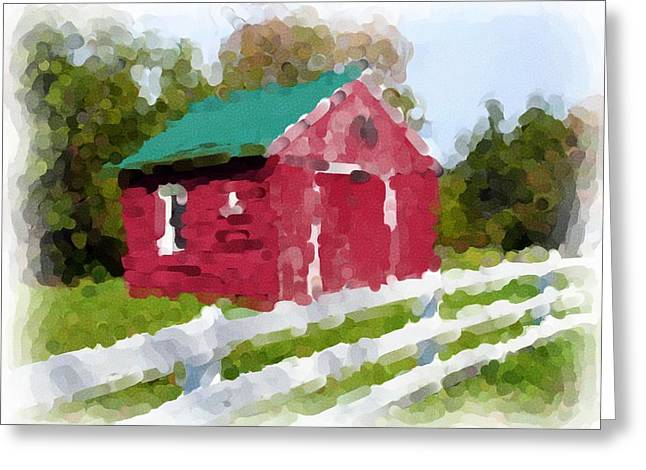 Red Barn Vermont Watercolor Greeting Card by Ralph Liebstein