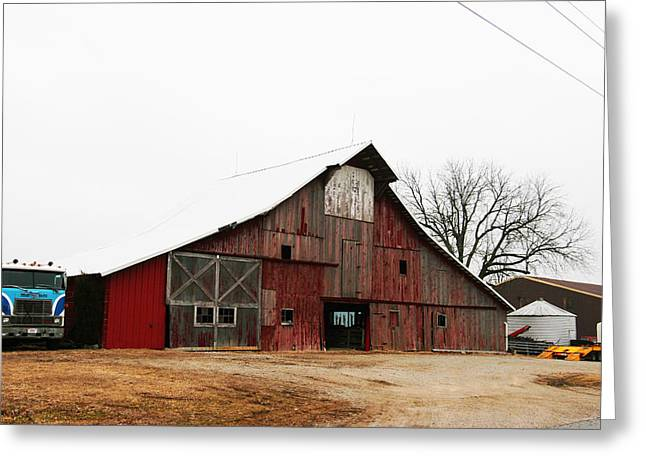 Red Barn W Blue Truck 2 Greeting Card by Mike Loudermilk