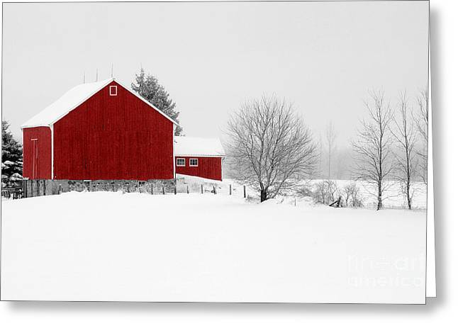 Red Barn Winter Landscape Greeting Card by Cathy  Beharriell