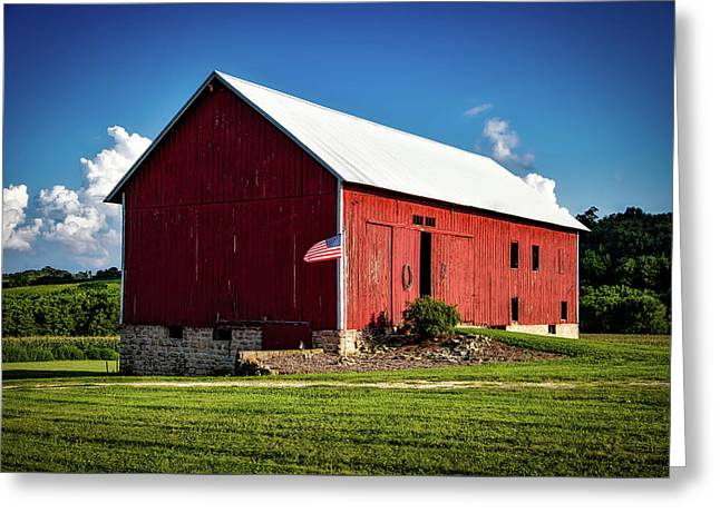 Red Barn With American Flag Greeting Card by Mountain Dreams