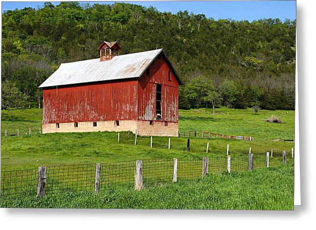 Red Barn With Cupola Greeting Card