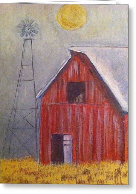 Red Barn With Windmill Greeting Card