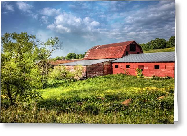 Red Barns At Sunrise Greeting Card
