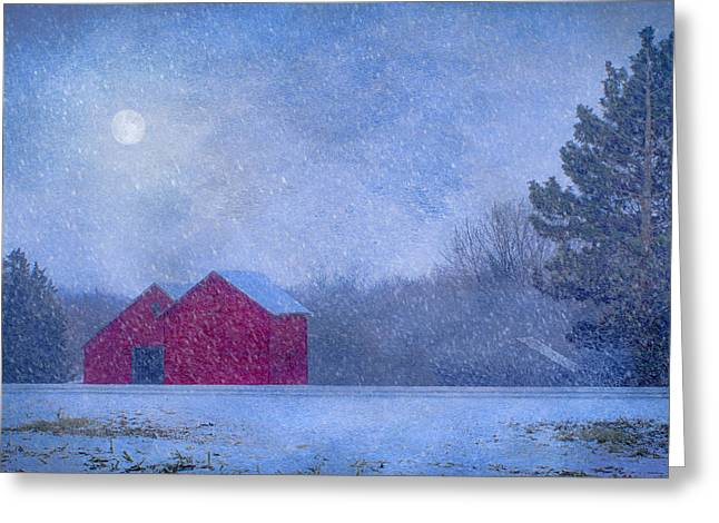 Red Barns In The Moonlight Greeting Card