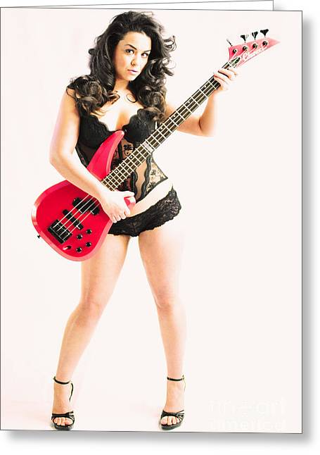 Red Bass Guitar Greeting Card