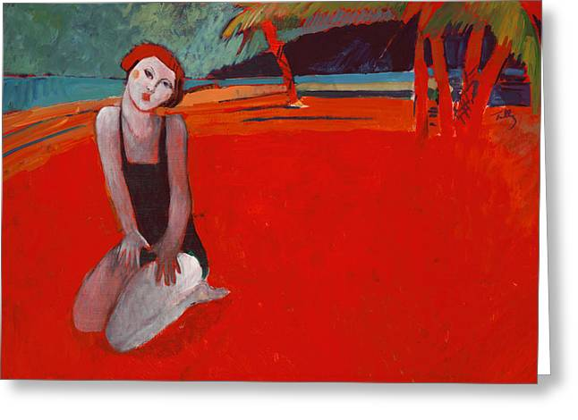 Red Beach Two Greeting Card