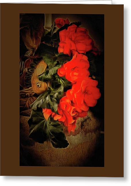 Greeting Card featuring the photograph Red Begonias by Thom Zehrfeld
