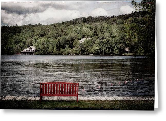 Red Bench Greeting Card