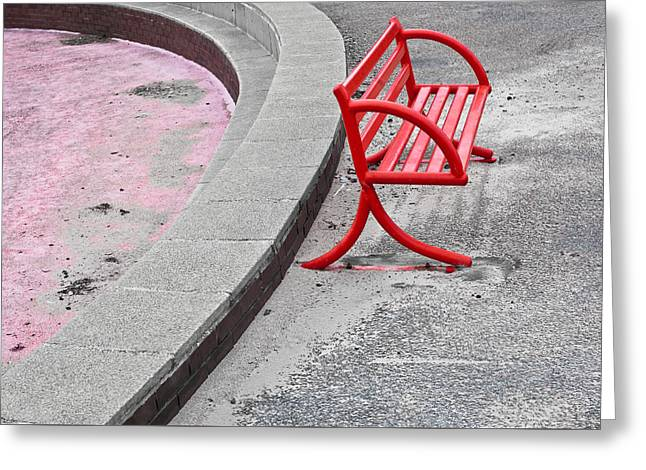 Red Bench Greeting Card by Tom Gowanlock