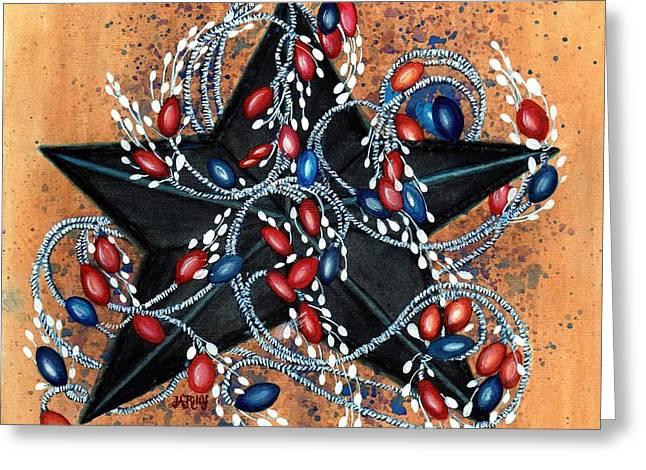 Red Berries De Vine - Black Star Greeting Card by Janine Riley
