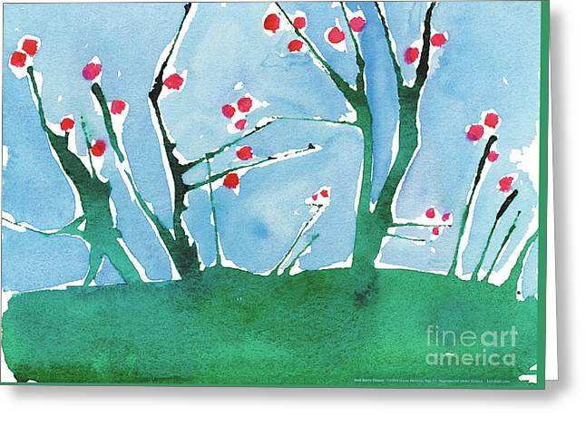 Red Berry Flowers Greeting Card