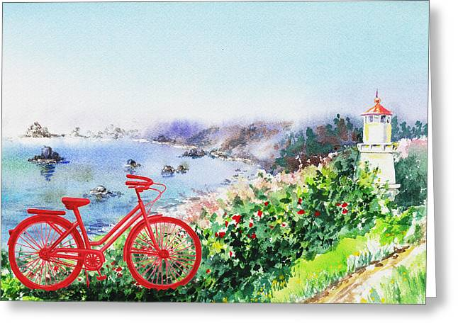 Red Bicycle At The Shore Greeting Card