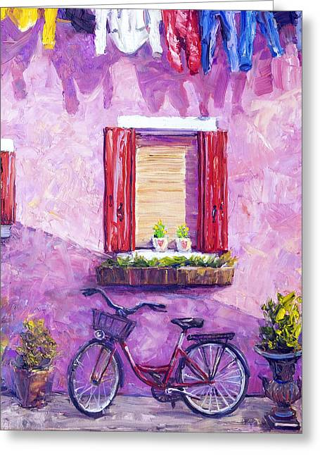 Red Bike, Burano, Italy Greeting Card by Steven Boone