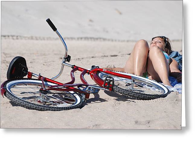 Red Bike On The Beach Greeting Card by Rob Hans