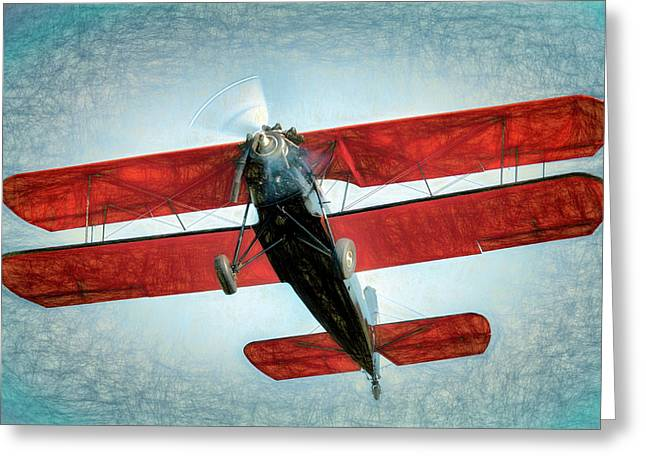 Red Biplane Greeting Card by James Barber