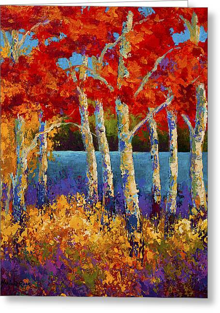 Tree Art Greeting Cards - Red Birches Greeting Card by Marion Rose