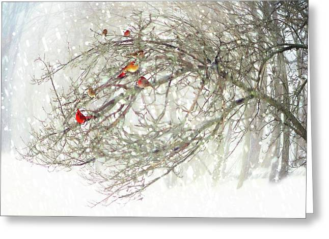 Greeting Card featuring the digital art Red Bird Convention by Sue Collura