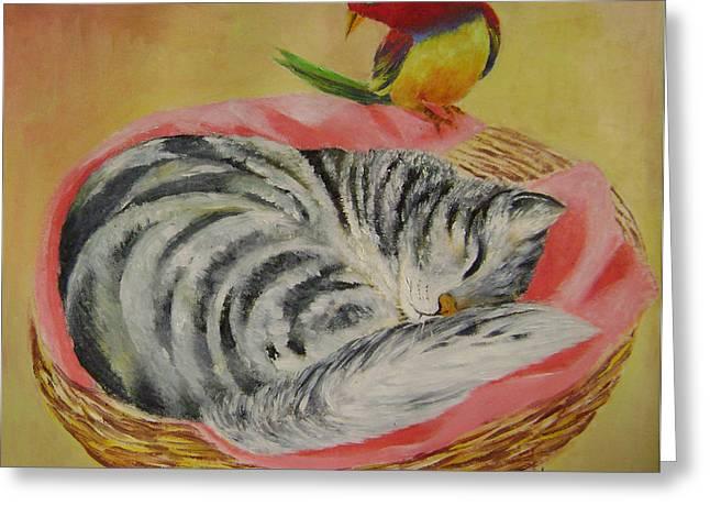 Red Bird Greeting Card by Lian Zhen