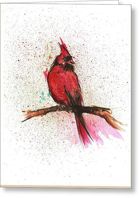 Red Bird Greeting Card by Remy Francis
