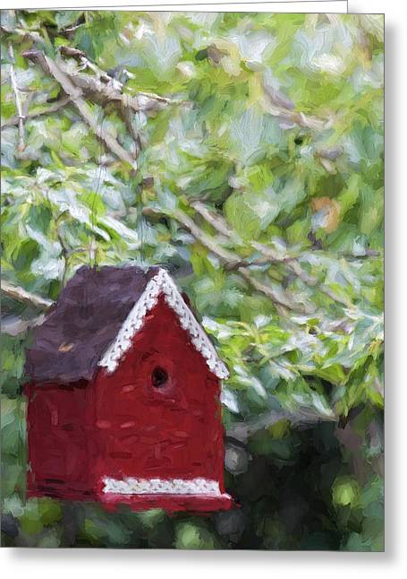 Red Birdhouse Painterly Effect Greeting Card by Carol Leigh