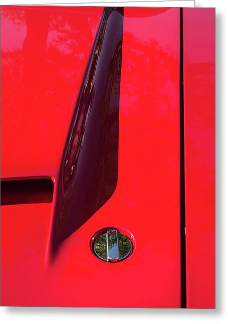 Greeting Card featuring the photograph Red Black And Shapes On Hot Rod Hood by Gary Slawsky