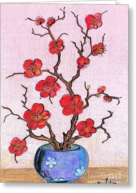 Red Bloom In The Blue Vase Greeting Card