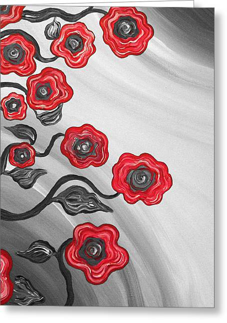 Red Blooms Greeting Card by Brenda Higginson