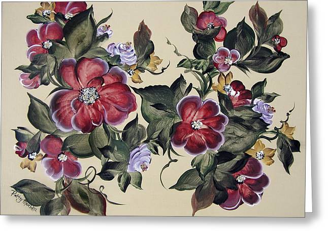 Red Blooms In Fall Greeting Card by Patty Muchka