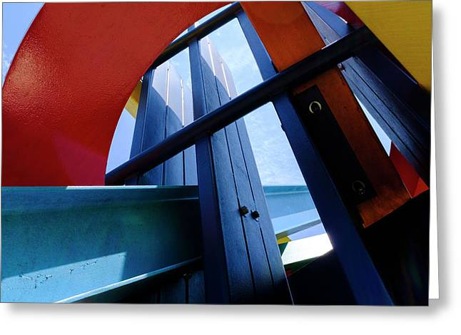 Red Blue And Yellow In Downtown Orlando Florida Greeting Card