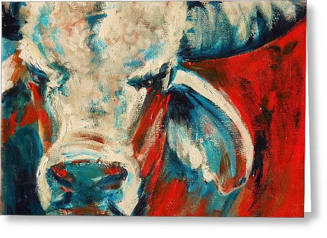Red-blue Brahma Bull Greeting Card