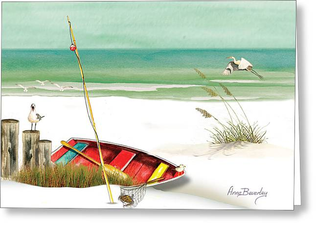 Greeting Card featuring the painting Red Boat by Anne Beverley-Stamps
