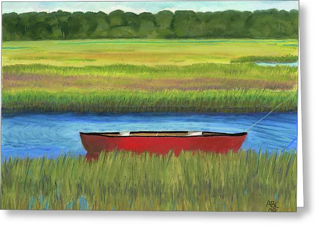 Red Boat - Assateague Channel Greeting Card by Arlene Crafton