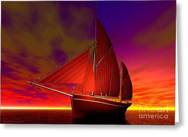 Red Boat At Sunset Greeting Card