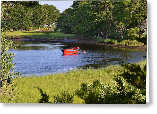 Red Boat On The Herring River Greeting Card