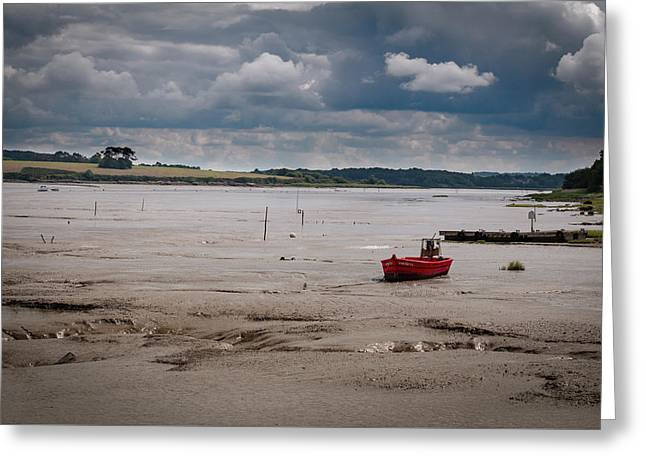 Red Boat On The Mud Greeting Card