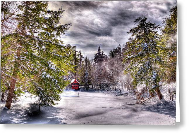 Greeting Card featuring the photograph Red Boathouse After The Storm by David Patterson