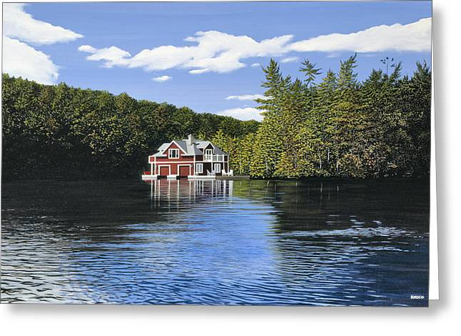 Red Boathouse Greeting Card