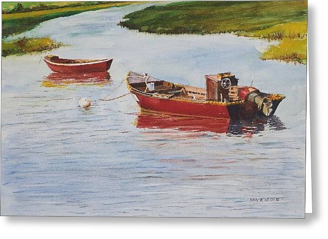 Red Boats At Rest Greeting Card
