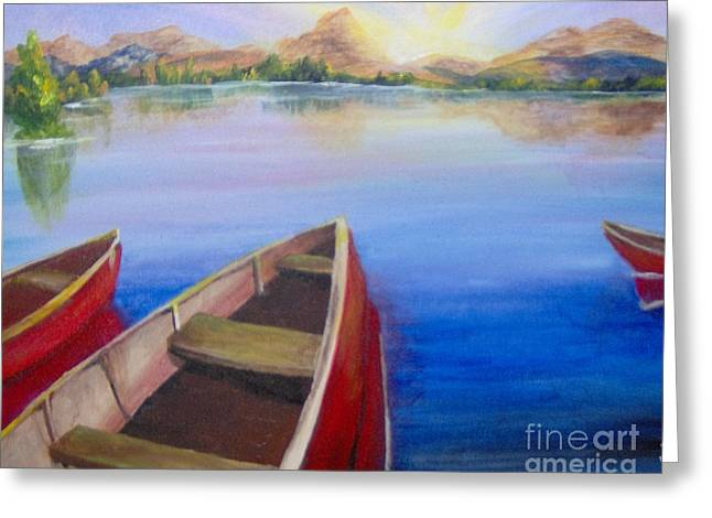 Greeting Card featuring the painting Red Boats At Sunrise by Saundra Johnson