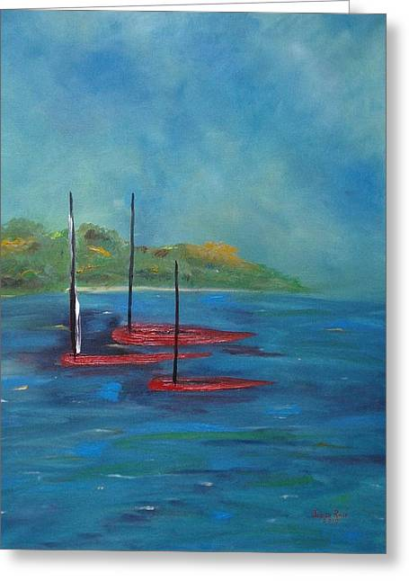 Greeting Card featuring the painting Red Boats by Judith Rhue