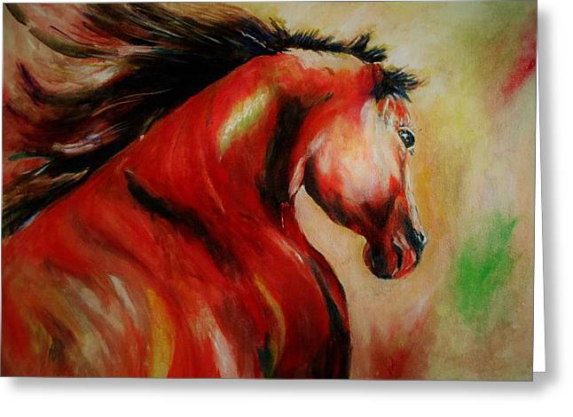 Red Breed Greeting Card by Khalid Saeed