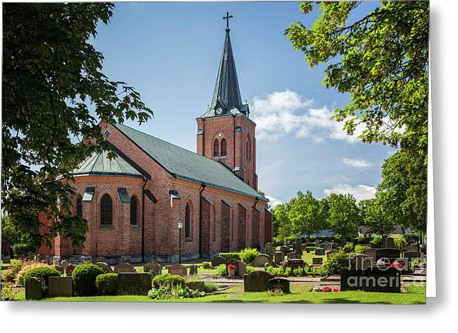 Red Brick Church Sweden Greeting Card